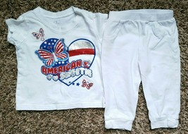 """Girl's Size 6-9 M Months 2 Piece PLACE White """"American Sweetie"""" Top, Leggings - $14.00"""