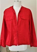 Chico's 100% Silk Jacket Sz.2 Red - $29.97