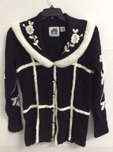 Storybook Knits Womens Button Front Black White Long Sleeve Cardigan Swe... - $32.62