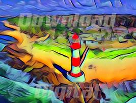 Digital download Salvador Bahia Brazil Farol Itapua Lighthouse Paintg Wa... - $5.80