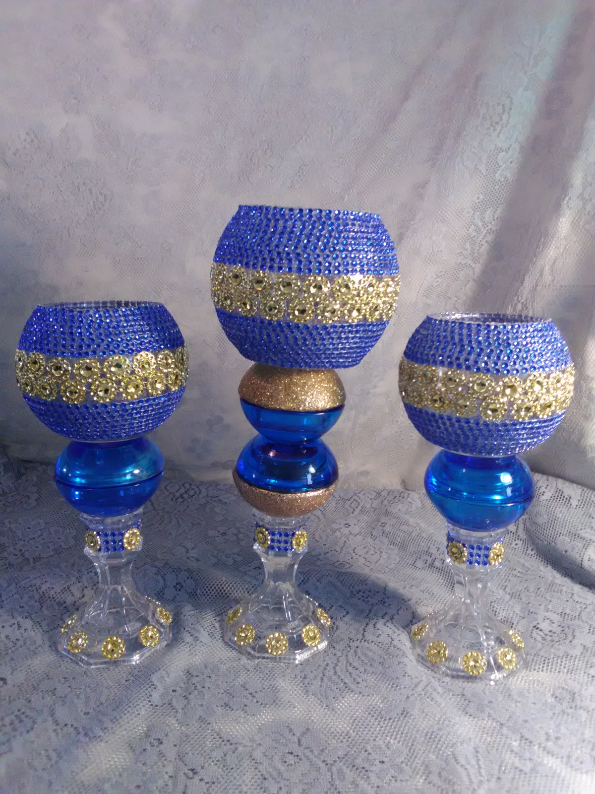 Primary image for  3pc. Blue & Gold  Candleholder Set