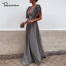 Tobinoone Sexy Deep V Neck Maxi Dress Bodycon Backless Ruffles Design Sp... - $45.50