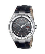Citizen Eco-Drive Mens AW1130-04A Dress Stainless Steel Black Leather Da... - $129.99