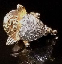 Vintage AVON 14KGE 925 Sterling Silver Cubic Zirconia Gold Cupid/Heart Tack Pin - $18.08