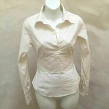 Laundry Shelli Sagal XS Top White Beaded Tuxedo Peplum Long Sleeve Shirt... - $21.54
