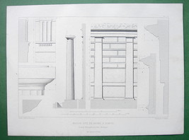 ARCHITECTURE PRINT : ca 1850 Italy Pompeii Doric Details from House of Faun - $14.85