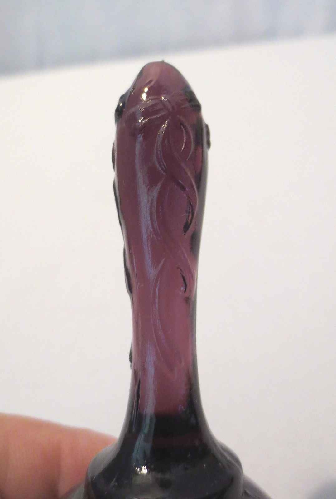 Fenton Glass Purple Floral Hand Painted Bell Swags Bows Signed K Brightbill