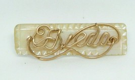 Gold Tone Frieda Signed Name Pin Brooch Mother of Pearl Vintage (B) - $19.79