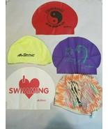 Lot of 5 Women's Swimming Sprint Swim Caps Various Designs & Colors - $19.99