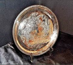 FB Rogers Silver Co Round Serving Tray Etched Design 12.5 883 AA18-1056-CVin image 3