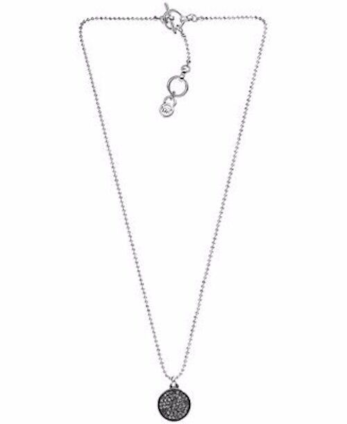 Primary image for Michael Kors Silver Tone Black Pave Crystal Ball Pendant Necklace MKJ2270 BNWT