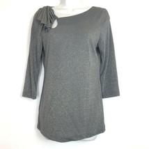 DELETTA Anthropologie Size M Shirt Top Gold Sparkles 3/4 Sleeve ILLILOUETTE - $19.79