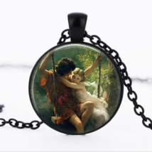 DARLING COUPLE ON SWING CABOCHON NECKLACE  >> MYSTERY ITEM INCLUDED << (... - $2.96