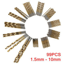 99pcs Titanium Coated High Speed Steel Drill Bit Set Manual Twist Drill ... - $10.68