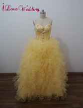 Real Prom Dresses Formal Ball Gown Tulle Crystal Party Evening Bridal Go... - $136.15