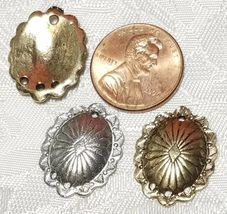 OVAL SHIELD ONE TO THREE HOLE FINE PEWTER EARRING PART 16x21x3mm; Hole 1.5mm image 4