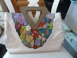 Beautiful off white canvas clutch tote with floral embroidery  by Zingara - $56.00