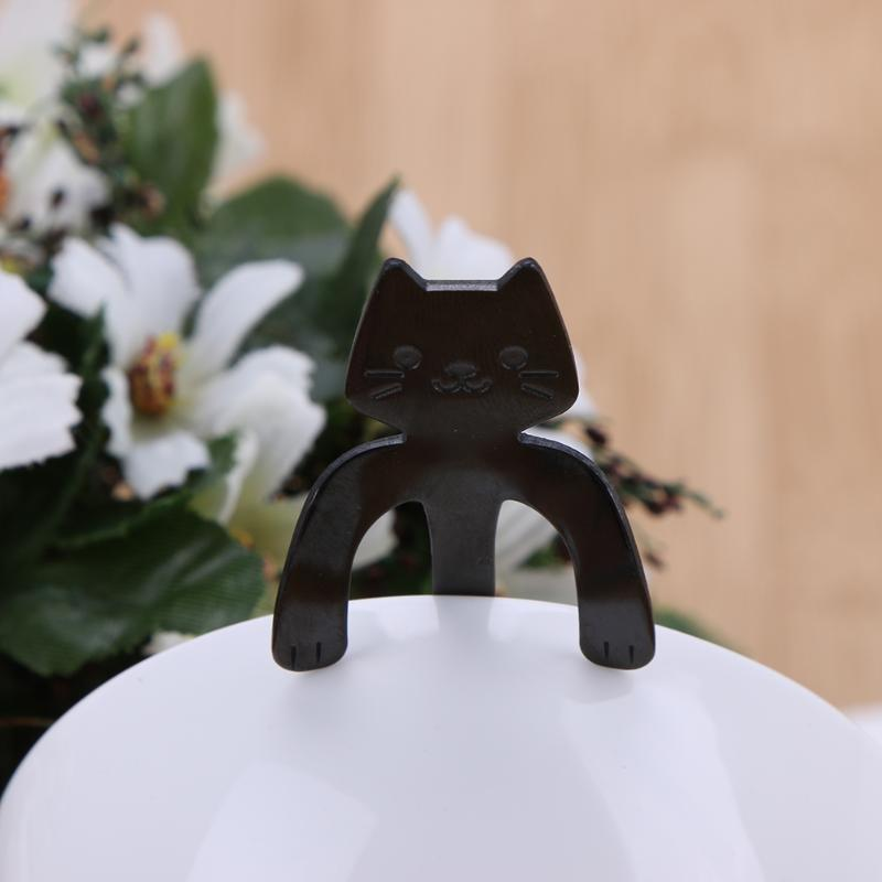 (black)Stainless Steel Cute Cat Coffee Spoon Creative Can Hang Stainless Steel C