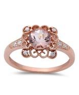14K Rose Gold .88 CTW Round Cut Morganite & Diamond Engagement Ring - $460.99