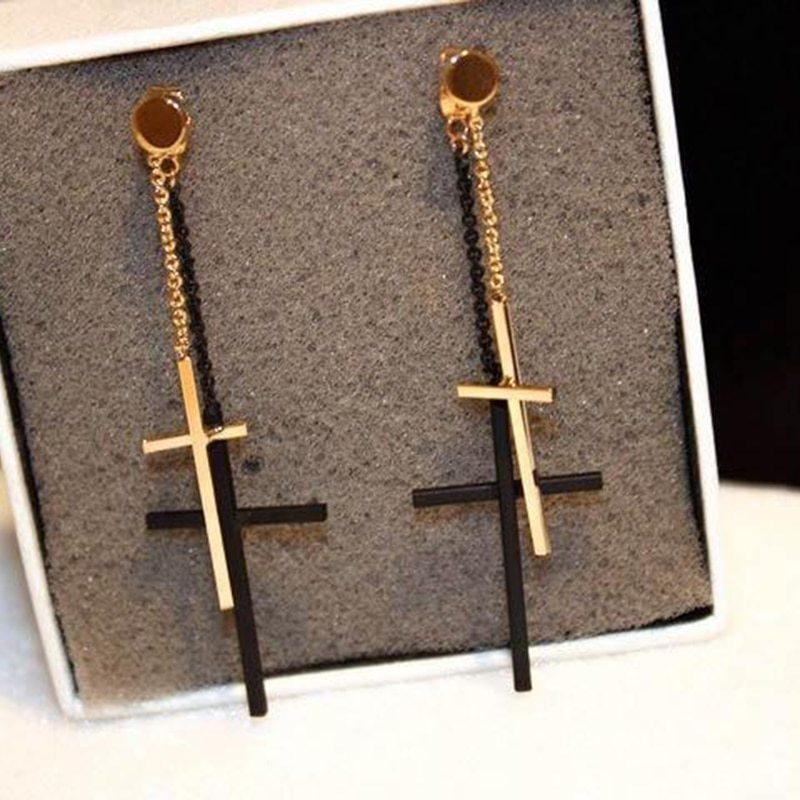 Punk Rock Double Cross Drop Earrings For Men Women Minimalist Jewelry Dangle Ear