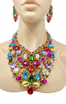 Luxurious Statement Bib Necklace Earring Multicolor Crystals Drag Queen ... - $76.09
