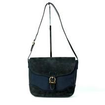 Auth SALVATORE FERRAGAMO Navy Suede Leather & Nylon Shoulder Bag Purse 0... - $137.61