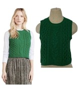 Moth Anthropologie Fisherman Cropped Cable Knit Wool Sweater Vest XS Petite - $44.52