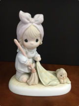 "Precious Moments ""Sweep all Your Worries Away"" Porcelain Figurine 521779 - $26.72"