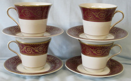 Castleton Flamenco Red Gold Cup & Saucer set of 4 - $40.48
