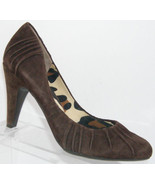 Jessica Simpson Kalvert brown suede scalloped almond toe slip on heels 8.5B - $31.47