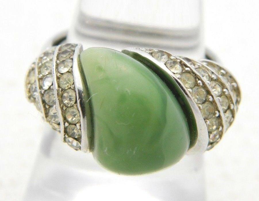 VTG CROWN TRIFARI Silver Tone Art Deco Style Rhinestone Faux Green Jade Ring  - $74.25