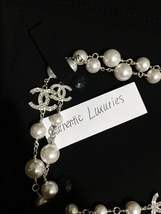 Authentic Chanel Classic 5 Crystal CC Logo Long Beaded Faux Pearl Necklace MINT image 3