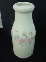 Pfaltzgraff Stoneware Milk Bottle Crock Tea Rose Floral Pattern Jug Vase USA - $9.75