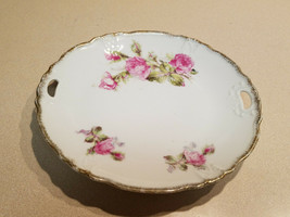Vintage Rose with Golden Edge Surround Plate Platter w/ Open Handles - $19.75