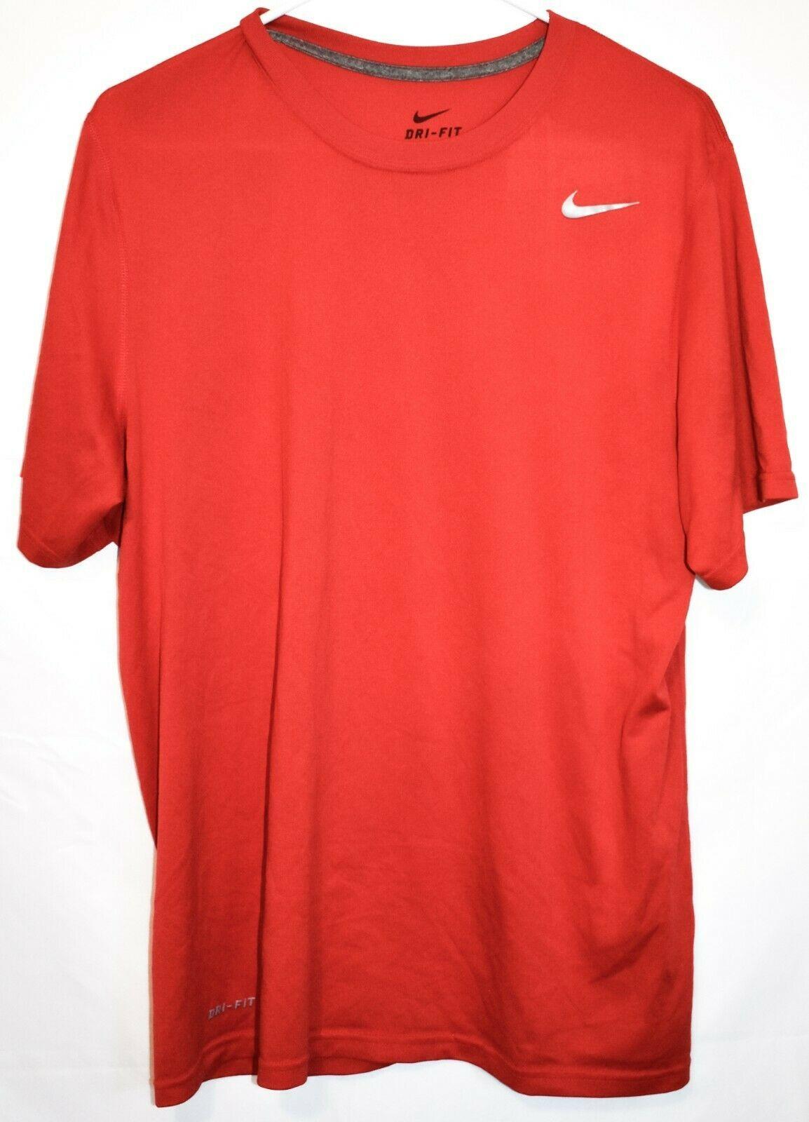 Nike Dri-Fit Men's Red Crew Neck Athletic Training Shirt Size L 384407-657