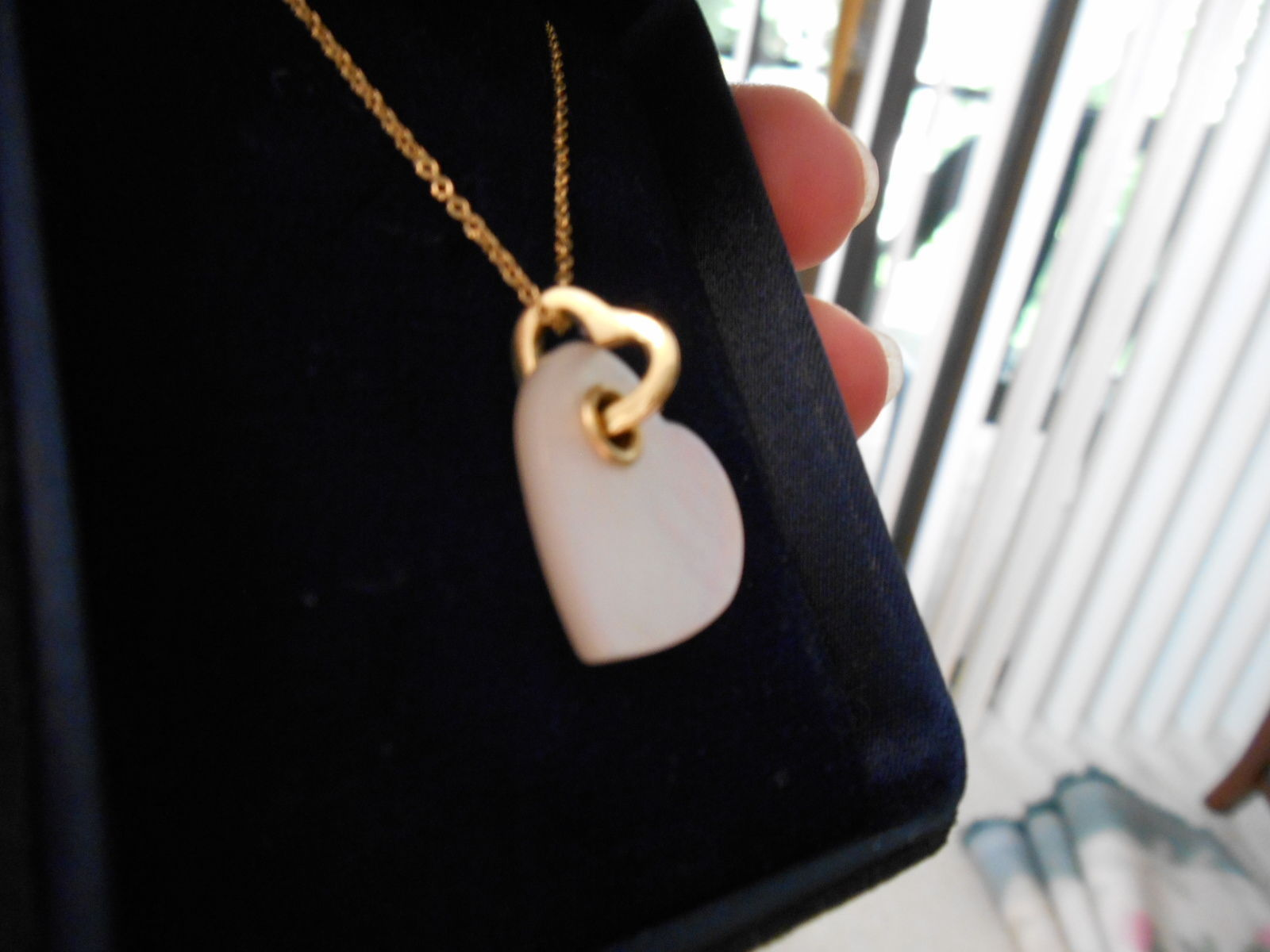 d8b992fdb S l1600. S l1600. Previous. Tiffany & Co 18K Heart Mother of Pearl Double  Heart Yellow Gold Necklace RARE