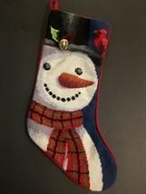 Finished Snowman Needlepoint Kit Stocking HandMade Vintage - $12.99