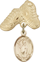 14K Gold Filled Baby Badge with St. Austin Charm and Baby Boots Pin 1 X 5/8 inch - $102.90