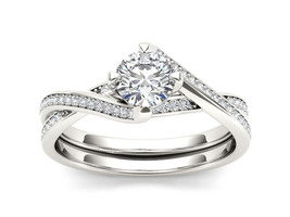 IGI Certified 14K White Gold 1.00 Ct Diamond Bypass Solitaire Engagement... - $1,729.99