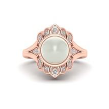Freshwater Pearl Ring Diamond Wedding Ring Art Nouveau Design Ring Free ... - $1,159.99