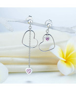 925 Sterling Silver Dangle Drop Pink Heart Earrings Mismatch Style Retro... - $82.91