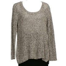 EILEEN FISHER Moon Gray Speckled Cotton Open Knit Sweater 1X - $185.70 CAD