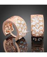 Baubles N Gems 18k Rose Gold Plated Swarovski Crystal Hoop Huggie Earrings - $14.85