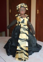 OOAK Hand Painted Doll Vudu Voodoo Priestess Composition / Cloth black H... - $44.55