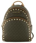 Michael Kors Abbey Backpack Bag Brown & Acorn Logo Monogram Studded Medium - $438.88