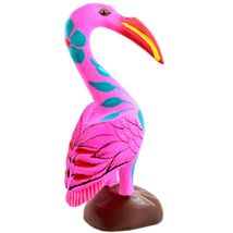 Handmade Oaxacan Copal Wood Carving Painted Folk Art Pink Flamingo Bird Figurine image 3