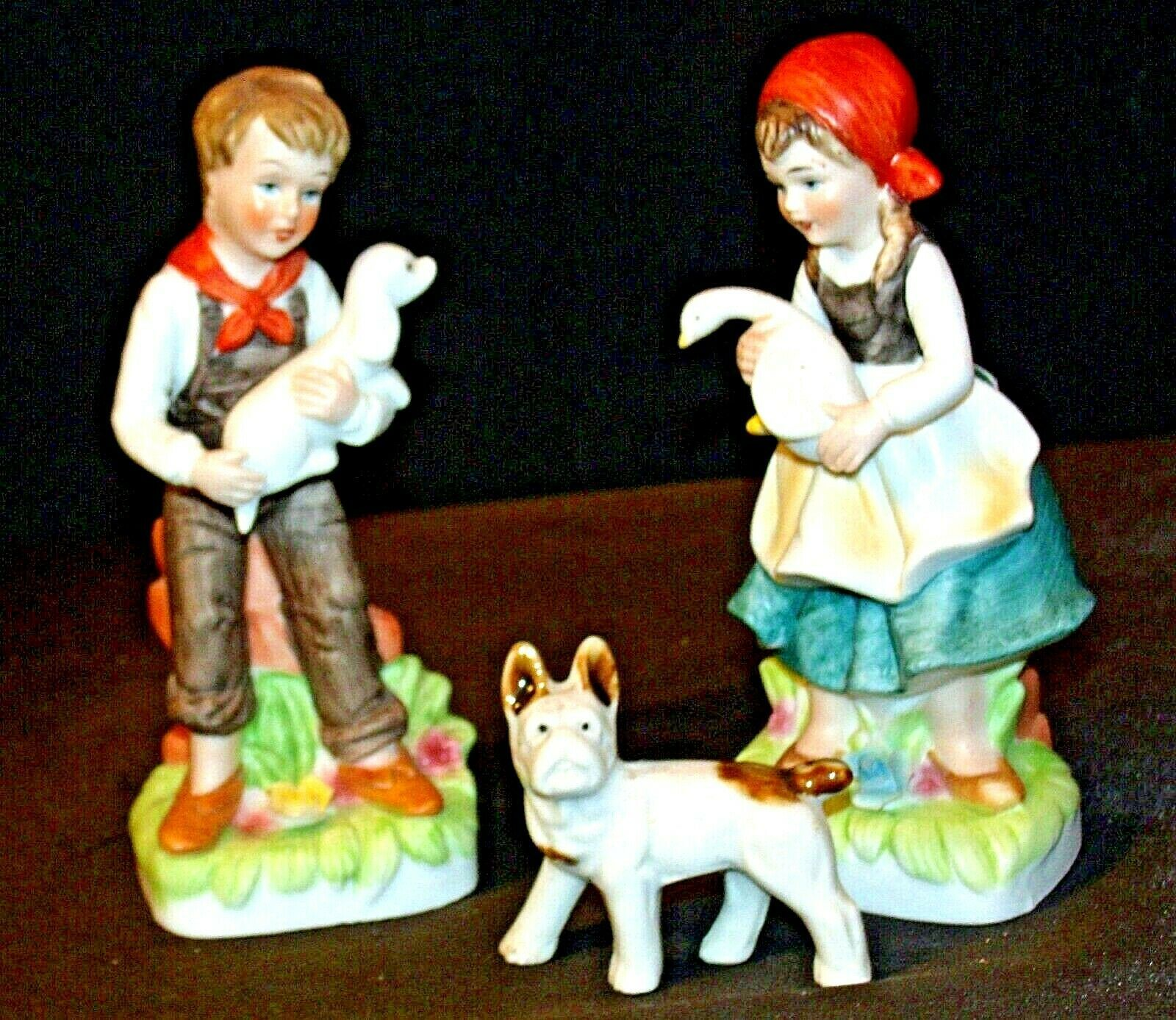 Boy and Girl with Dog Figurines AA-191973 Vintage