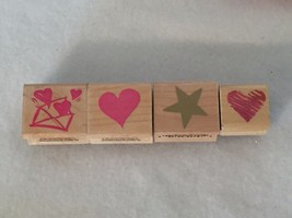 4 Heart Star Rubber Stamps Hero Arts Design Prints ALl Night Media 21040... - $13.99
