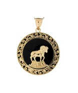 10K or 14K Yellow Gold & Onyx Aries Zodiac Pendant - $599.99+