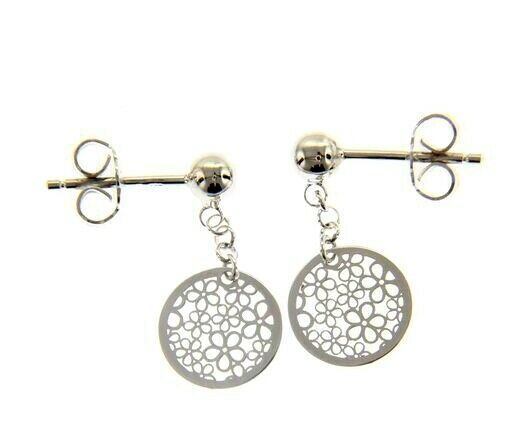 18K WHITE GOLD PENDANT EARRINGS, FLAT DISC WITH FLOWERS, 20mm, MADE IN ITALY
